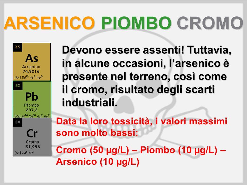 ARSENICO PIOMBO CROMO Devono essere assenti! Tuttavia, in alcune occasioni, larsenico è presente nel terreno, così come il cromo, risultato degli scar