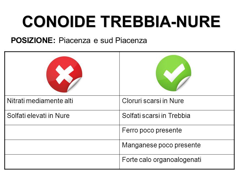 CONOIDE TREBBIA-NURE POSIZIONE: Piacenza e sud Piacenza Nitrati mediamente altiCloruri scarsi in Nure Solfati elevati in NureSolfati scarsi in Trebbia