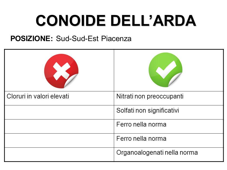 CONOIDE DELLARDA POSIZIONE: Sud-Sud-Est Piacenza Cloruri in valori elevatiNitrati non preoccupanti Solfati non significativi Ferro nella norma Organoa