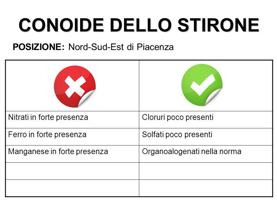 CONOIDE DELLO STIRONE POSIZIONE: Nord-Sud-Est di Piacenza Nitrati in forte presenzaCloruri poco presenti Ferro in forte presenzaSolfati poco presenti