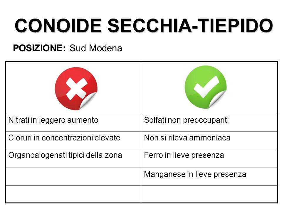 CONOIDE SECCHIA-TIEPIDO POSIZIONE: Sud Modena Nitrati in leggero aumentoSolfati non preoccupanti Cloruri in concentrazioni elevateNon si rileva ammoni