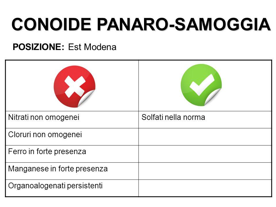 CONOIDE PANARO-SAMOGGIA POSIZIONE: Est Modena Nitrati non omogeneiSolfati nella norma Cloruri non omogenei Ferro in forte presenza Manganese in forte