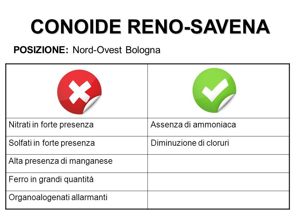 CONOIDE RENO-SAVENA POSIZIONE: Nord-Ovest Bologna Nitrati in forte presenzaAssenza di ammoniaca Solfati in forte presenzaDiminuzione di cloruri Alta p