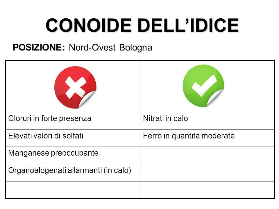 CONOIDE DELLIDICE POSIZIONE: Nord-Ovest Bologna Cloruri in forte presenzaNitrati in calo Elevati valori di solfatiFerro in quantità moderate Manganese