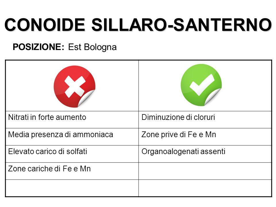CONOIDE SILLARO-SANTERNO POSIZIONE: Est Bologna Nitrati in forte aumentoDiminuzione di cloruri Media presenza di ammoniacaZone prive di Fe e Mn Elevat