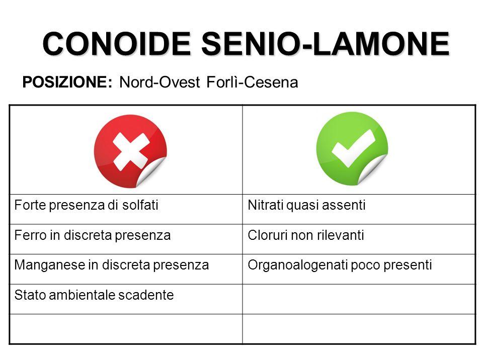 CONOIDE SENIO-LAMONE POSIZIONE: Nord-Ovest Forlì-Cesena Forte presenza di solfatiNitrati quasi assenti Ferro in discreta presenzaCloruri non rilevanti