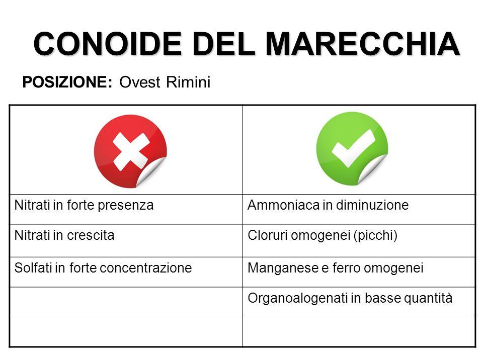 CONOIDE DEL MARECCHIA POSIZIONE: Ovest Rimini Nitrati in forte presenzaAmmoniaca in diminuzione Nitrati in crescitaCloruri omogenei (picchi) Solfati i