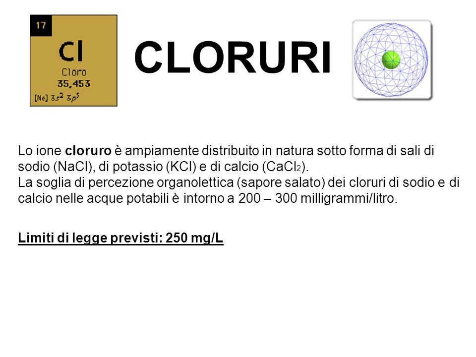 CLORURI Lo ione cloruro è ampiamente distribuito in natura sotto forma di sali di sodio (NaCl), di potassio (KCl) e di calcio (CaCl 2 ). La soglia di
