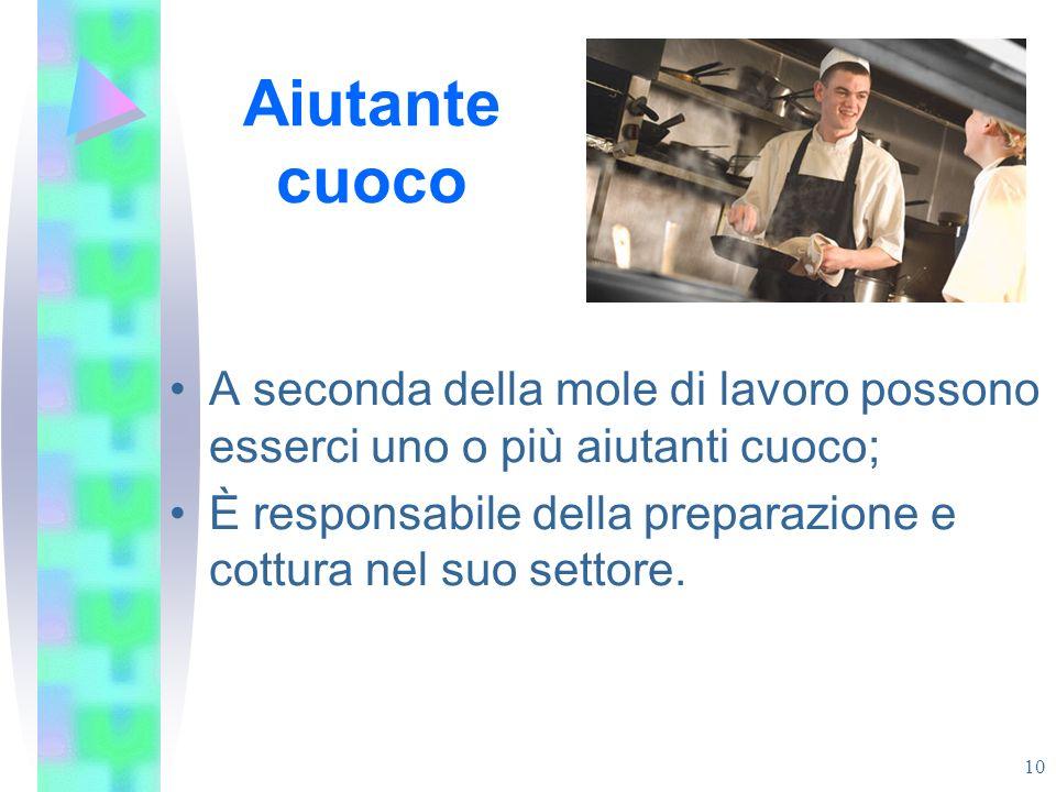 Aiutante cuoco A seconda della mole di lavoro possono esserci uno o più aiutanti cuoco; È responsabile della preparazione e cottura nel suo settore. 1
