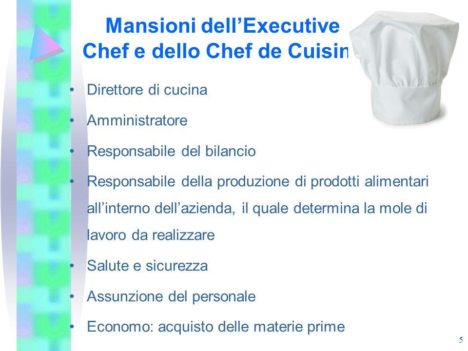 Mansioni dellExecutive Chef e dello Chef de Cuisine Direttore di cucina Amministratore Responsabile del bilancio Responsabile della produzione di prod