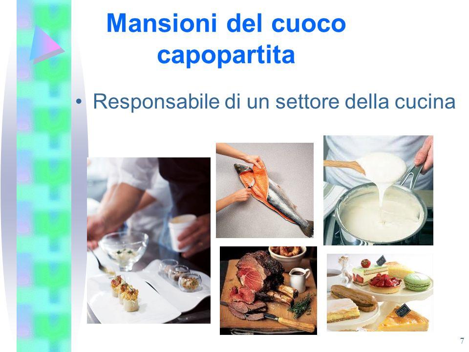 Mansioni del cuoco capopartita Responsabile di un settore della cucina 7