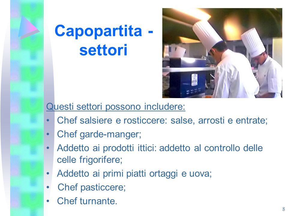 Capopartita - settori Questi settori possono includere: Chef salsiere e rosticcere: salse, arrosti e entrate; Chef garde-manger; Addetto ai prodotti i