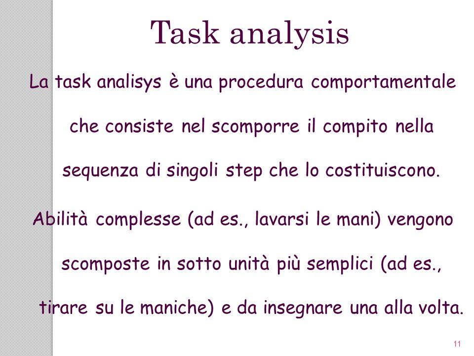 11 La task analisys è una procedura comportamentale che consiste nel scomporre il compito nella sequenza di singoli step che lo costituiscono. Abilità