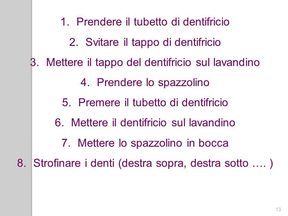 13 1.Prendere il tubetto di dentifricio 2.Svitare il tappo di dentifricio 3.Mettere il tappo del dentifricio sul lavandino 4.Prendere lo spazzolino 5.