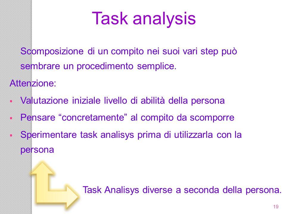 19 Scomposizione di un compito nei suoi vari step può sembrare un procedimento semplice. Attenzione: Valutazione iniziale livello di abilità della per