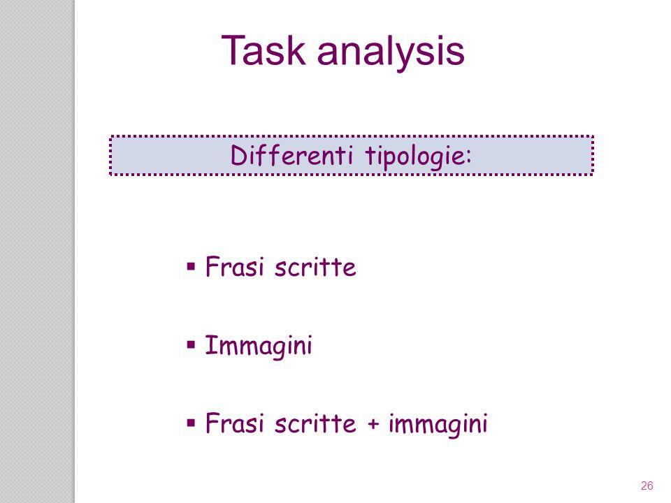 26 Frasi scritte Immagini Frasi scritte + immagini Task analysis Differenti tipologie: