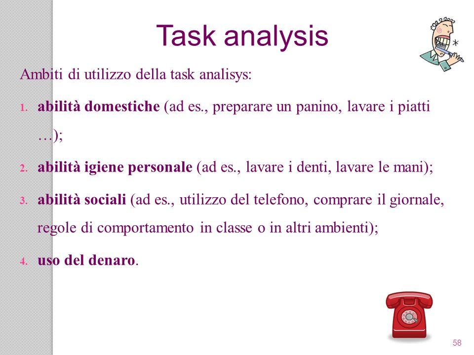 58 Ambiti di utilizzo della task analisys: 1. abilità domestiche (ad es., preparare un panino, lavare i piatti …); 2. abilità igiene personale (ad es.