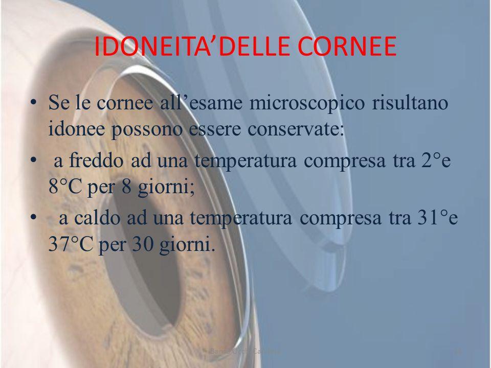 IDONEITADELLE CORNEE Se le cornee allesame microscopico risultano idonee possono essere conservate: a freddo ad una temperatura compresa tra 2°e 8°C p