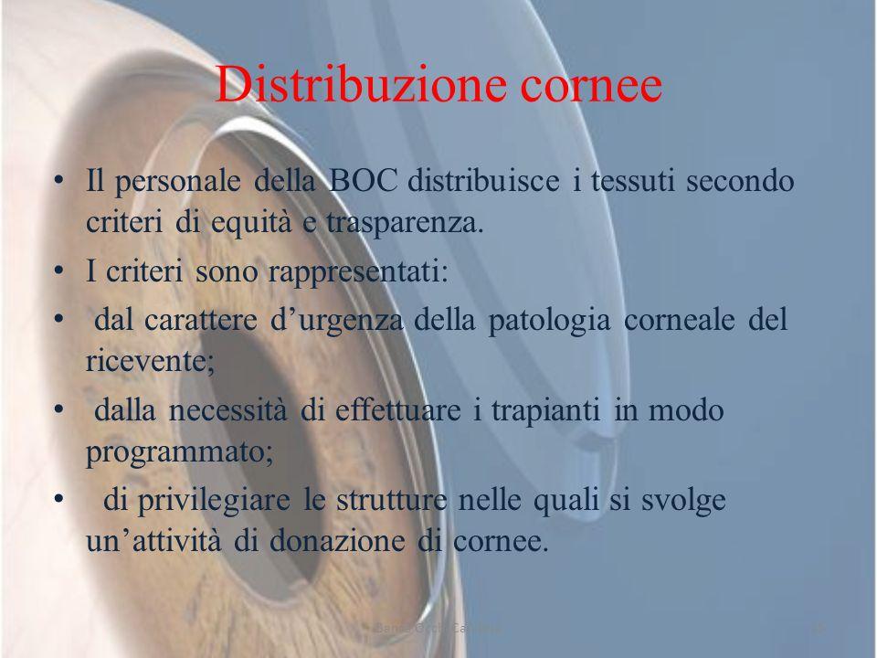 Distribuzione cornee Il personale della BOC distribuisce i tessuti secondo criteri di equità e trasparenza. I criteri sono rappresentati: dal caratter