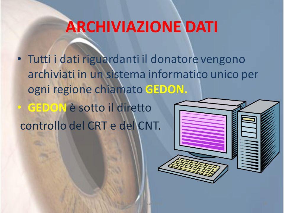 ARCHIVIAZIONE DATI Tutti i dati riguardanti il donatore vengono archiviati in un sistema informatico unico per ogni regione chiamato GEDON. GEDON è so