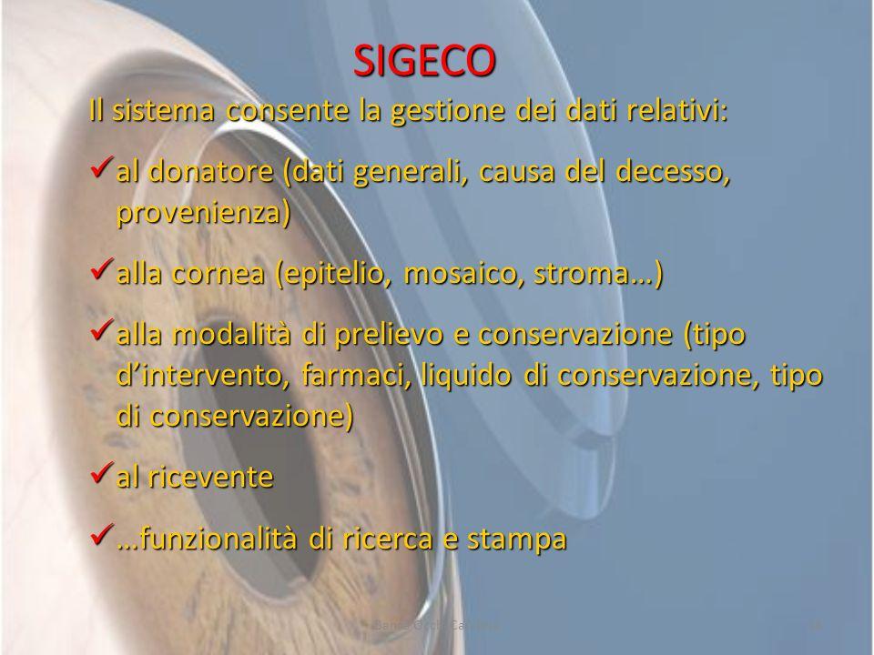 Banca Occhi Calabria18 SIGECO Il sistema consente la gestione dei dati relativi: al donatore (dati generali, causa del decesso, provenienza) al donato