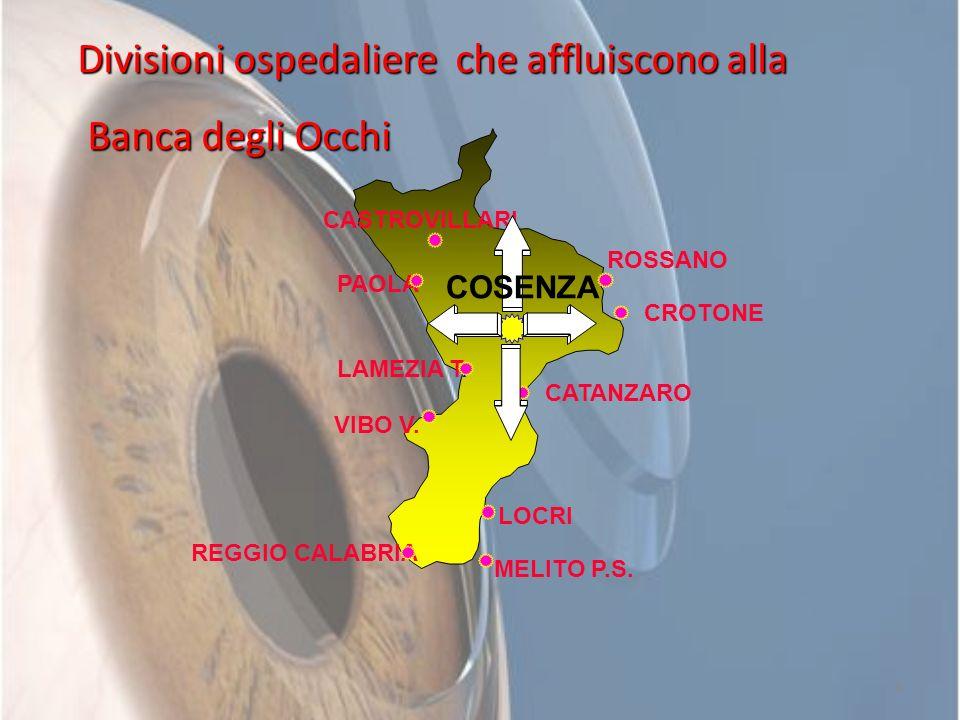 6 REGGIO CALABRIA CATANZARO CROTONE PAOLA VIBO V. LAMEZIA T. MELITO P.S. LOCRI CASTROVILLARI COSENZA ROSSANO Divisioni ospedaliere che affluiscono all