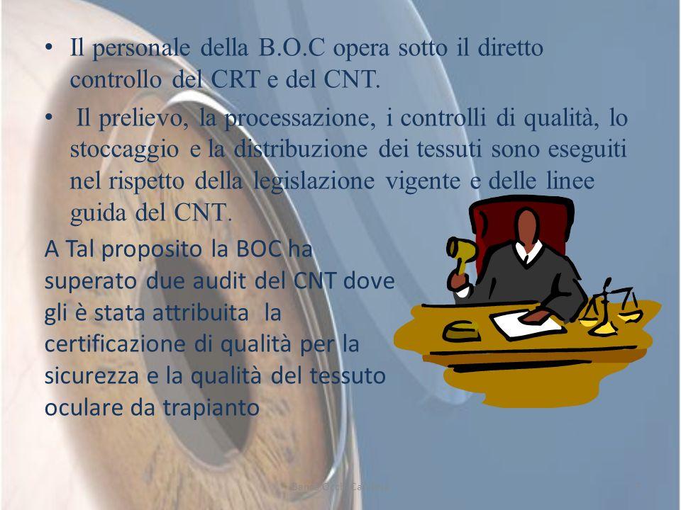 Il personale della B.O.C opera sotto il diretto controllo del CRT e del CNT. Il prelievo, la processazione, i controlli di qualità, lo stoccaggio e la
