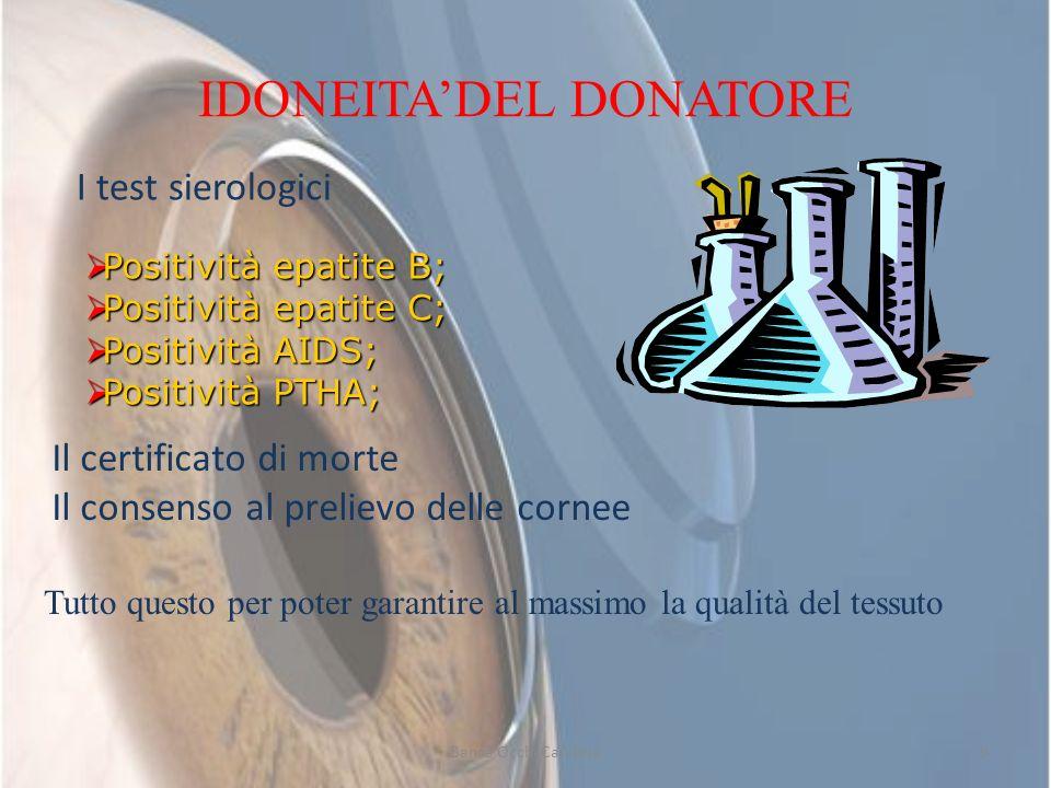IDONEITADEL DONATORE I test sierologici Positività epatite B; Positività epatite B; Positività epatite C; Positività epatite C; Positività AIDS; Posit