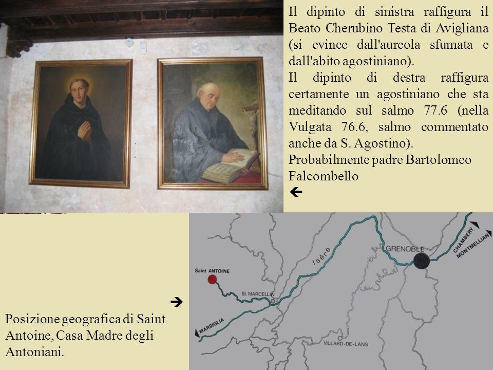 Il dipinto di sinistra raffigura il Beato Cherubino Testa di Avigliana (si evince dall'aureola sfumata e dall'abito agostiniano). Il dipinto di destra