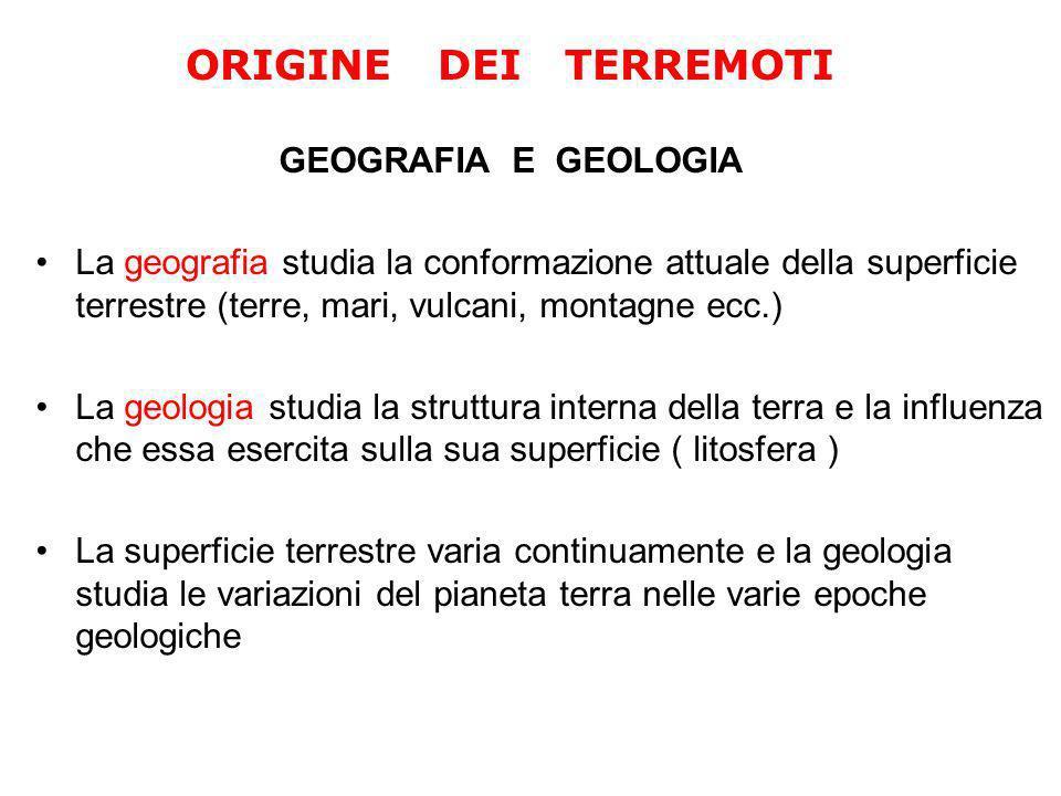 GEOGRAFIA E GEOLOGIA La geografia studia la conformazione attuale della superficie terrestre (terre, mari, vulcani, montagne ecc.) La geologia studia