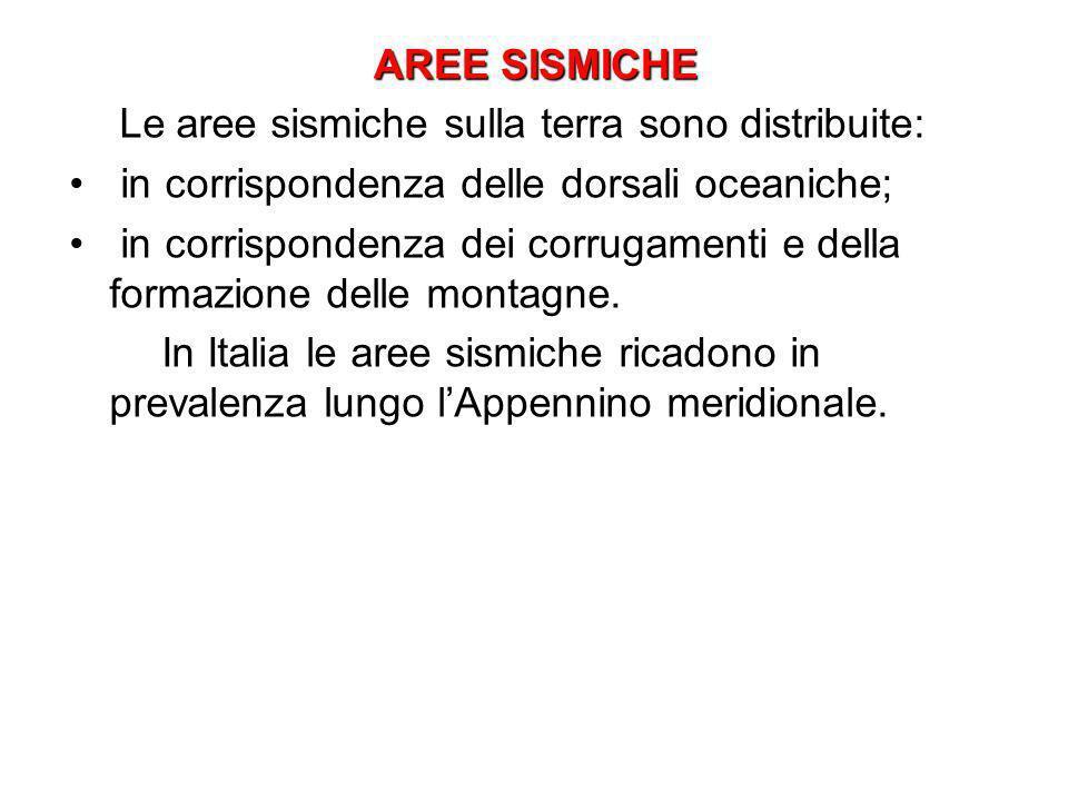AREE SISMICHE AREE SISMICHE Le aree sismiche sulla terra sono distribuite: in corrispondenza delle dorsali oceaniche; in corrispondenza dei corrugamen
