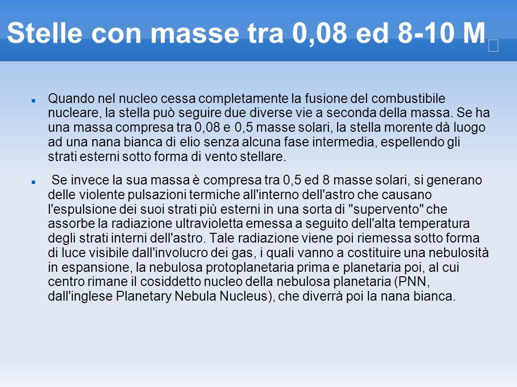 Stelle con masse tra 0,08 ed 8-10 M Quando nel nucleo cessa completamente la fusione del combustibile nucleare, la stella può seguire due diverse vie
