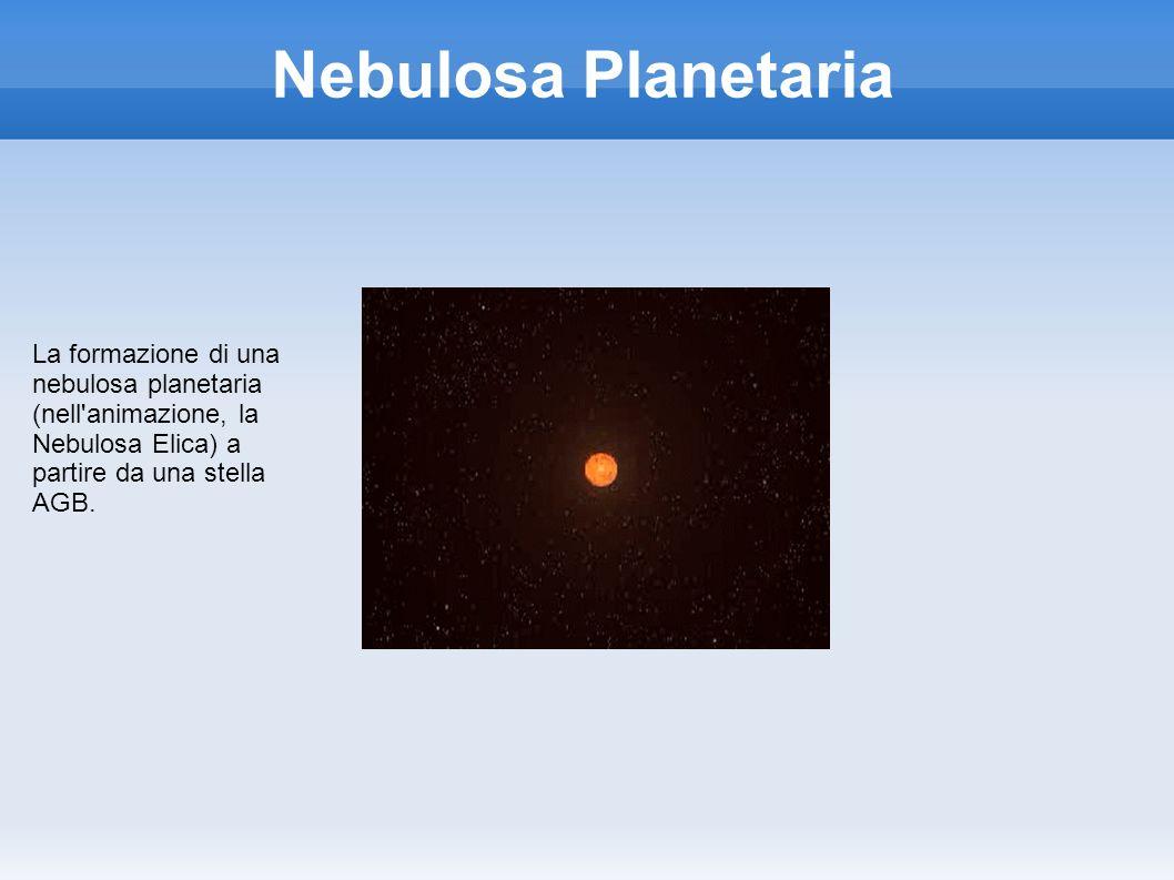 Nebulosa Planetaria La formazione di una nebulosa planetaria (nell'animazione, la Nebulosa Elica) a partire da una stella AGB.