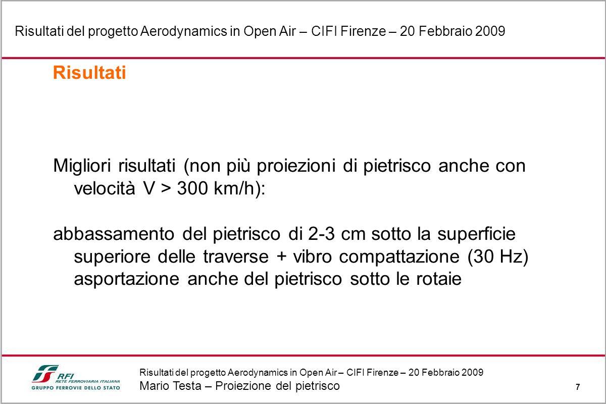 Risultati del progetto Aerodynamics in Open Air – CIFI Firenze – 20 Febbraio 2009 Mario Testa – Proiezione del pietrisco 7 Risultati del progetto Aero