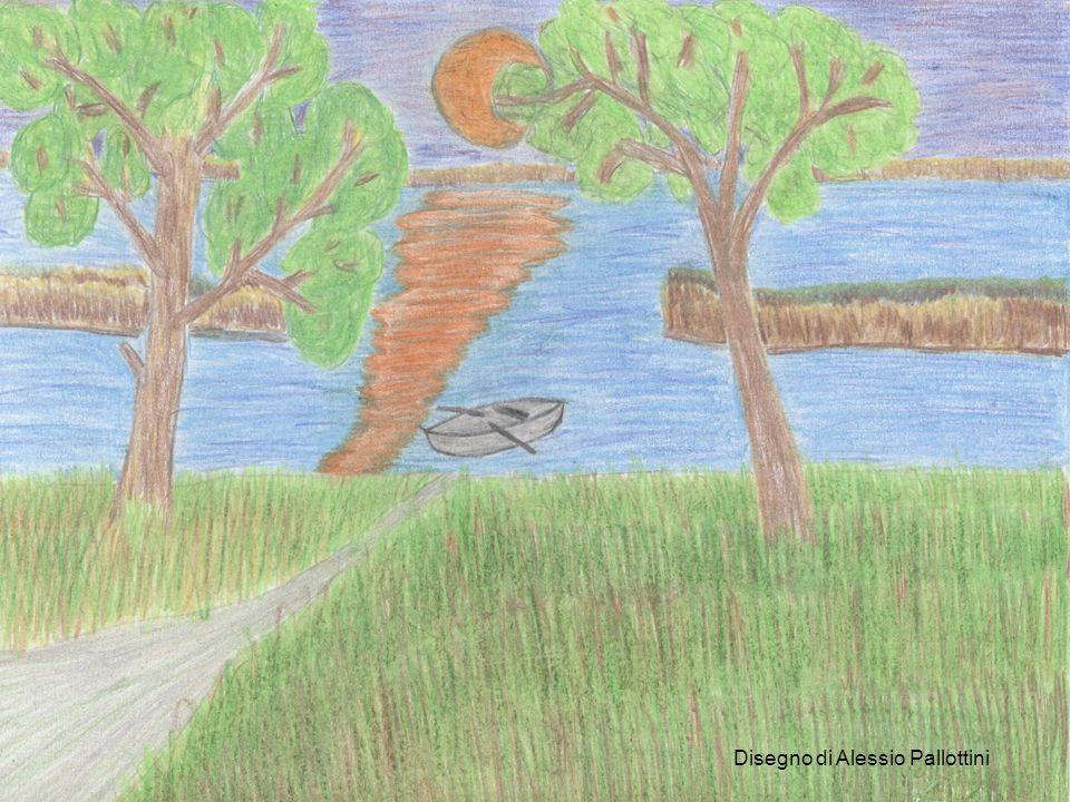 Disegno di Asia Federigi Invece, il paesaggio di Visione rappresenta un tramonto che estende i suoi raggi su una pianura dove i fiumi Po e Mincio si incontrano.