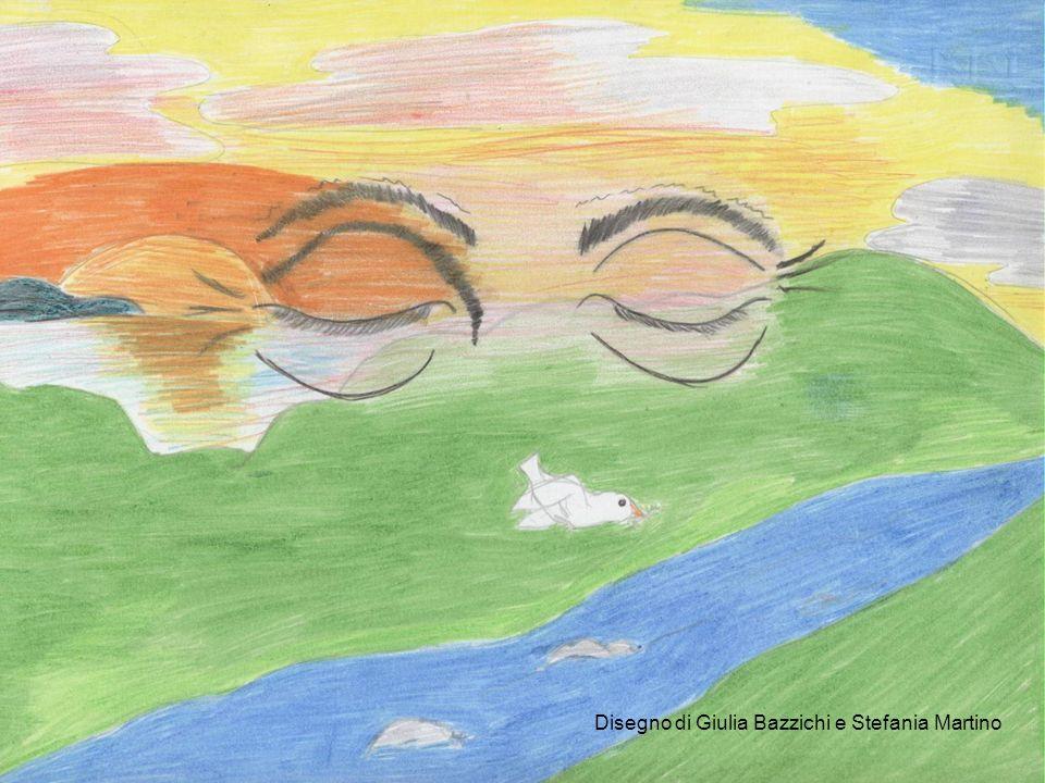 Disegno di Edoardo Destro In San Martino l autore allinizio della poesia fa prevalere colori tenui e spenti come il grigio perla della nebbia e il bianco della spuma del mare, poi dipinge il paesaggio di rosso, marrone e giallo, che si riferiscono allautunno appena iniziato.