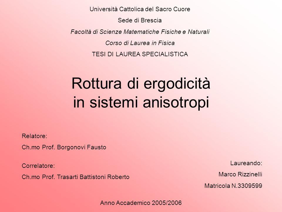 Rottura di ergodicità in sistemi anisotropi Università Cattolica del Sacro Cuore Sede di Brescia Facoltà di Scienze Matematiche Fisiche e Naturali Cor