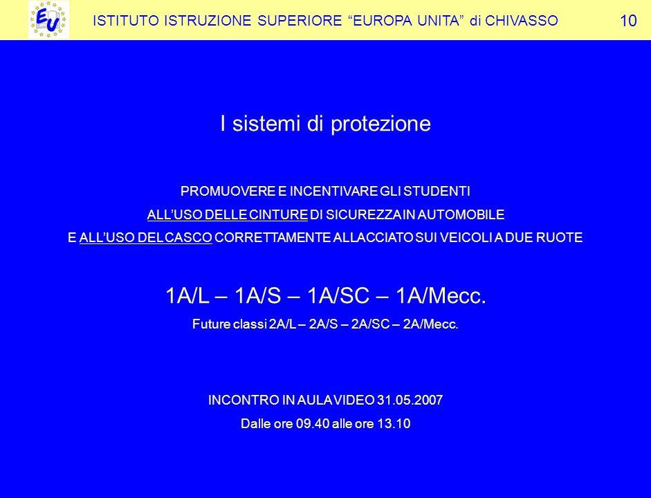 ISTITUTO ISTRUZIONE SUPERIORE EUROPA UNITA di CHIVASSO I sistemi di protezione PROMUOVERE E INCENTIVARE GLI STUDENTI ALLUSO DELLE CINTURE DI SICUREZZA IN AUTOMOBILE E ALLUSO DEL CASCO CORRETTAMENTE ALLACCIATO SUI VEICOLI A DUE RUOTE 1A/L – 1A/S – 1A/SC – 1A/Mecc.