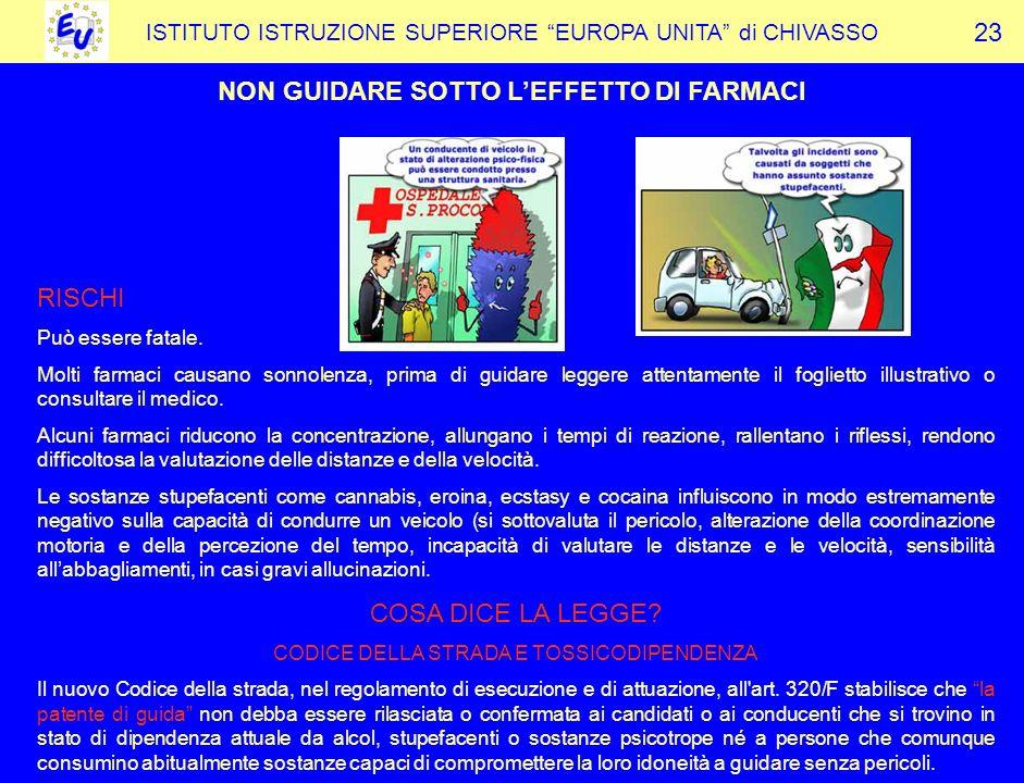 ISTITUTO ISTRUZIONE SUPERIORE EUROPA UNITA di CHIVASSO NON GUIDARE SOTTO LEFFETTO DI FARMACI 23 RISCHI Può essere fatale.