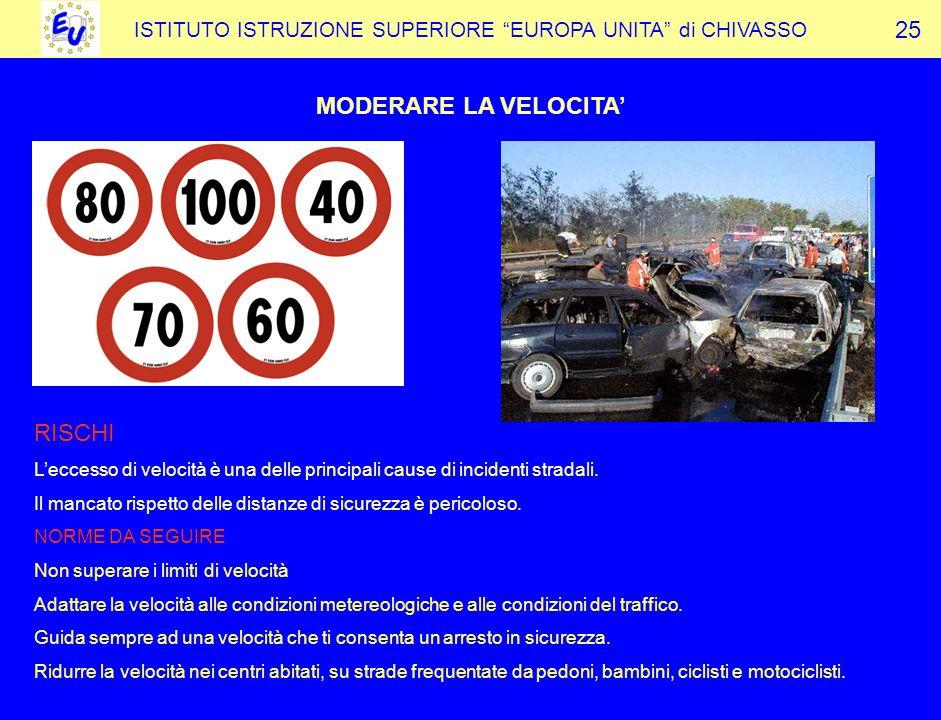 ISTITUTO ISTRUZIONE SUPERIORE EUROPA UNITA di CHIVASSO MODERARE LA VELOCITA 25 RISCHI Leccesso di velocità è una delle principali cause di incidenti stradali.