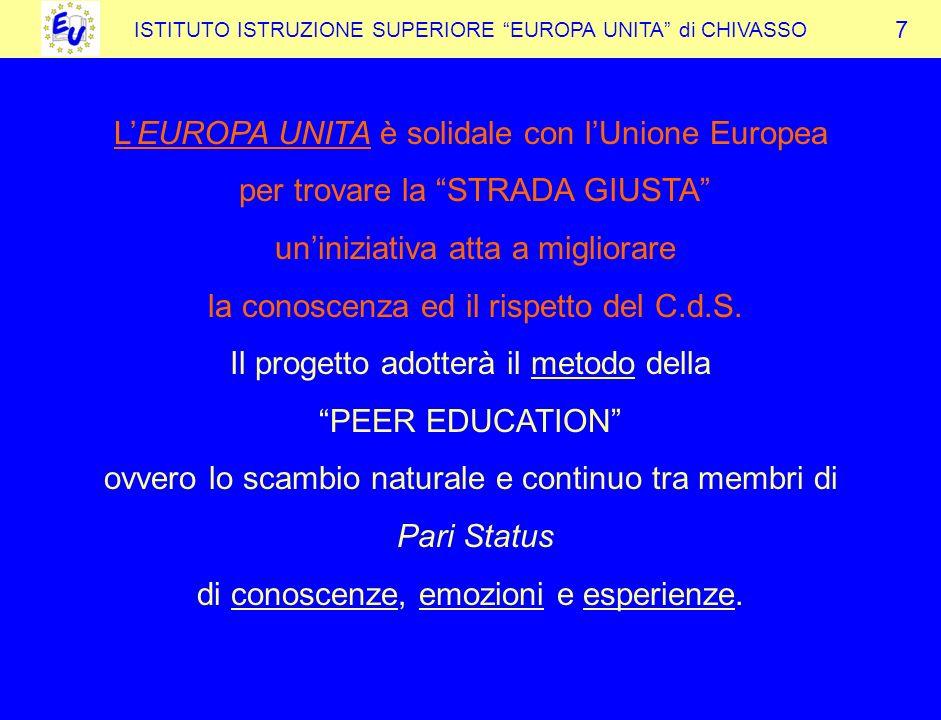 ISTITUTO ISTRUZIONE SUPERIORE EUROPA UNITA di CHIVASSO LEUROPA UNITA è solidale con lUnione Europea per trovare la STRADA GIUSTA uniniziativa atta a migliorare la conoscenza ed il rispetto del C.d.S.