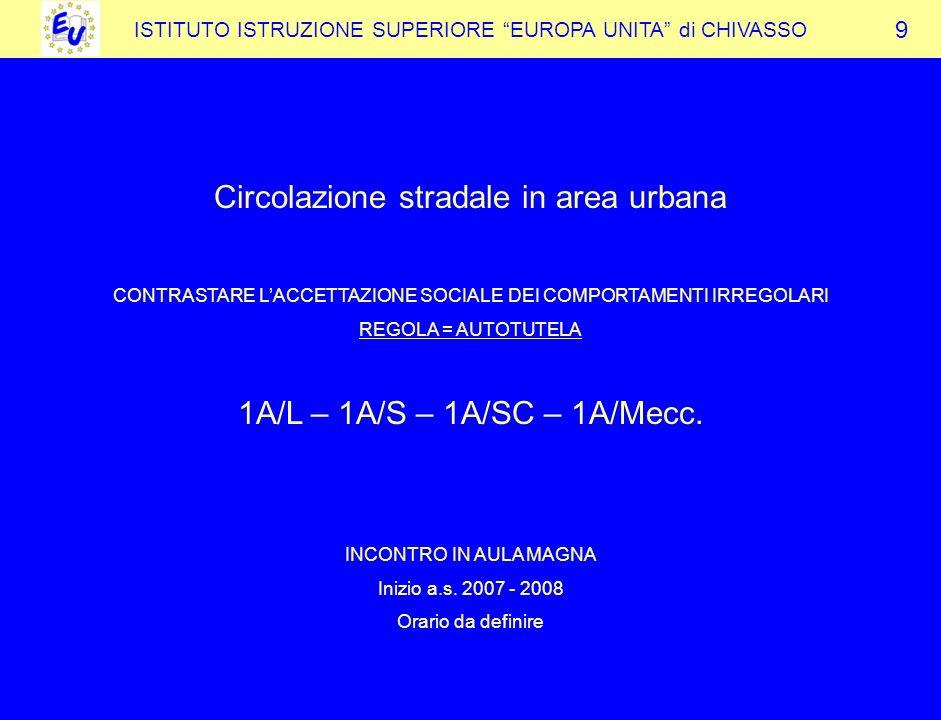 ISTITUTO ISTRUZIONE SUPERIORE EUROPA UNITA di CHIVASSO Circolazione stradale in area urbana CONTRASTARE LACCETTAZIONE SOCIALE DEI COMPORTAMENTI IRREGOLARI REGOLA = AUTOTUTELA 1A/L – 1A/S – 1A/SC – 1A/Mecc.