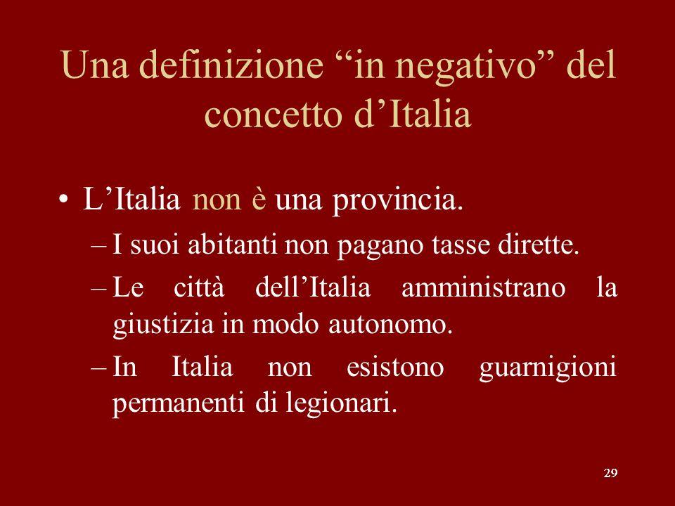 29 Una definizione in negativo del concetto dItalia LItalia non è una provincia. –I suoi abitanti non pagano tasse dirette. –Le città dellItalia ammin