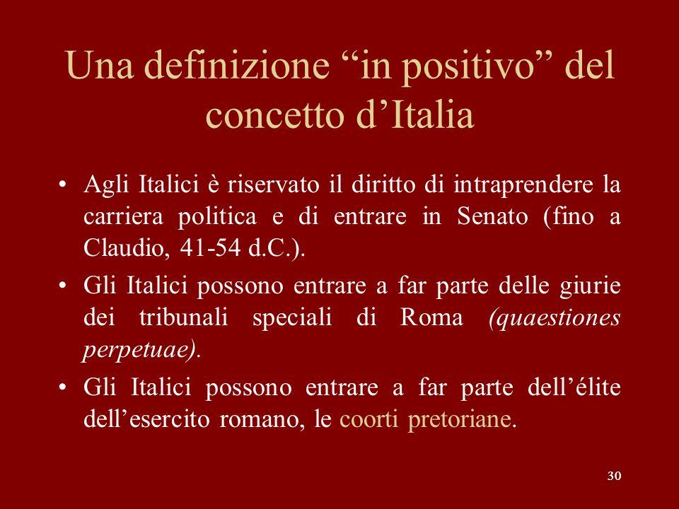 30 Una definizione in positivo del concetto dItalia Agli Italici è riservato il diritto di intraprendere la carriera politica e di entrare in Senato (