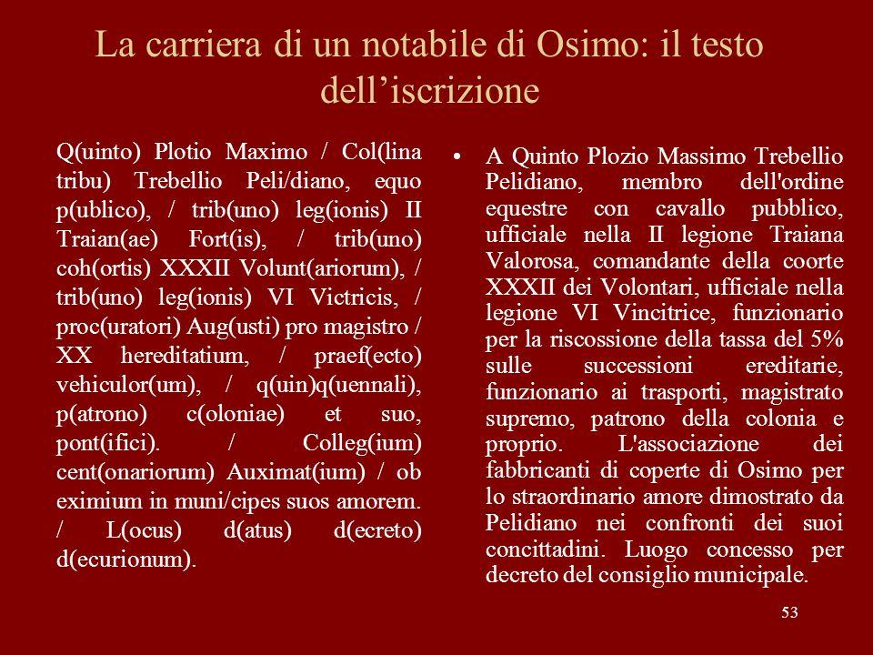 53 La carriera di un notabile di Osimo: il testo delliscrizione Q(uinto) Plotio Maximo / Col(lina tribu) Trebellio Peli/diano, equo p(ublico), / trib(