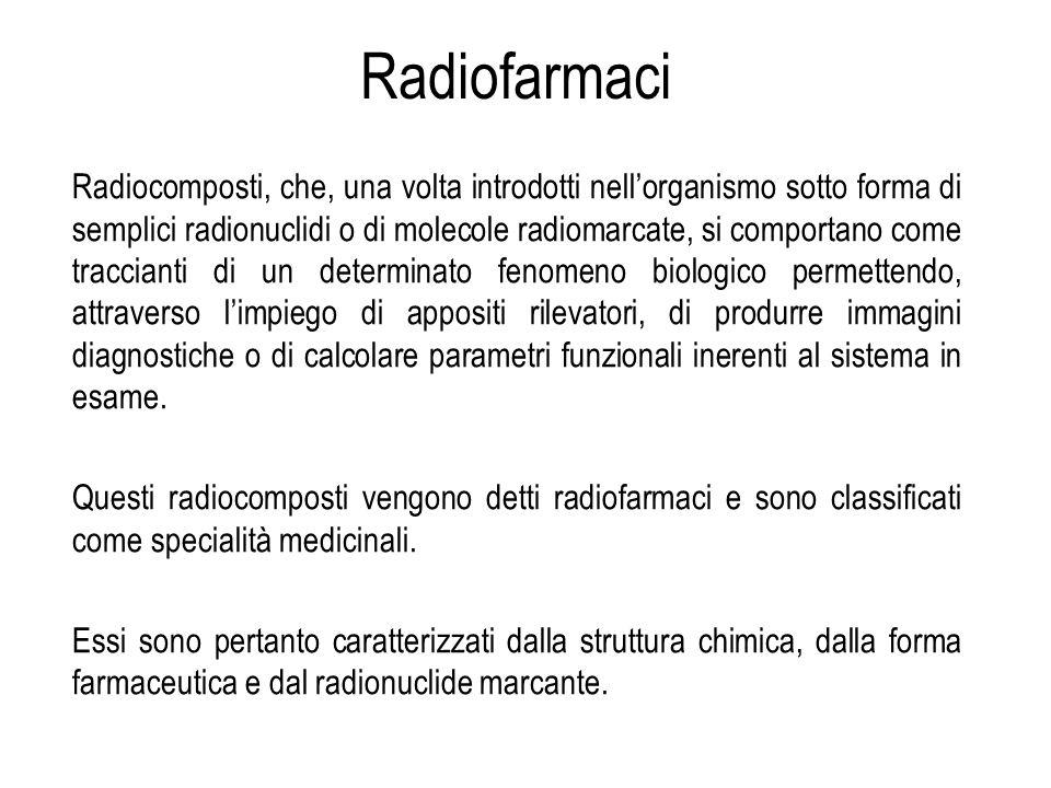 Radiocomposti, che, una volta introdotti nellorganismo sotto forma di semplici radionuclidi o di molecole radiomarcate, si comportano come traccianti