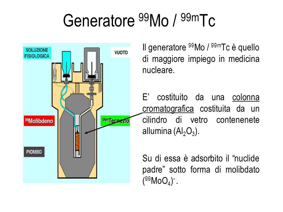 Il generatore 99 Mo / 99m Tc è quello di maggiore impiego in medicina nucleare. E costituito da una colonna cromatografica costituita da un cilindro d