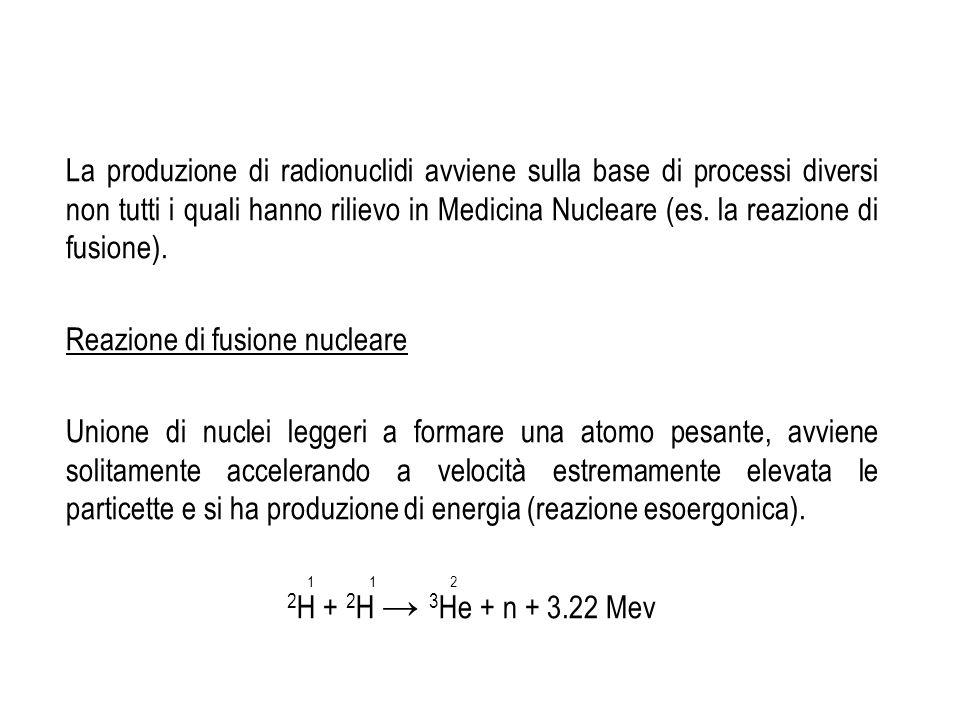 La produzione di radionuclidi avviene sulla base di processi diversi non tutti i quali hanno rilievo in Medicina Nucleare (es. la reazione di fusione)