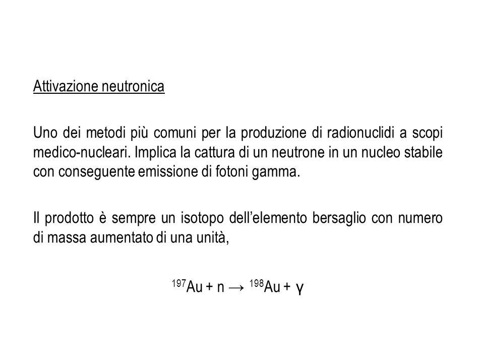 Attivazione neutronica Uno dei metodi più comuni per la produzione di radionuclidi a scopi medico-nucleari. Implica la cattura di un neutrone in un nu