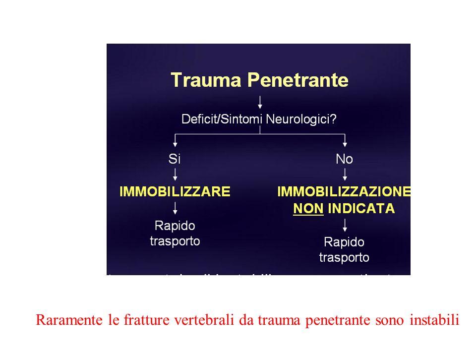 Raramente le fratture vertebrali da trauma penetrante sono instabili